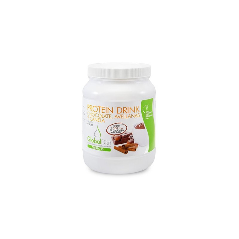 PROTEIN DRINK CHOCOLATE, AVELLANA Y CANELA 400 g GLOBALDIET