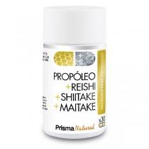PROPÓLEO + REISHI + SHIITAKE + MAITAKE. 30 microesferas. Prisma Natural